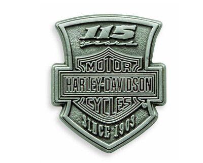HARLEY DAVIDSON 115TH ANNIVERSARY PIN VEST JACKET PEWTER BIKER PIN