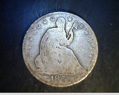 1854 0 US SEATED LIBERTY HALF AVERAGE CIR. .3599 OZ SILVER US 4223