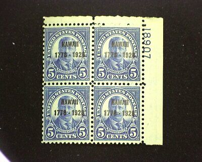 HS&C: Scott #648 Mint 5 cent Hawaii plate block of four, PL #18907. F NH