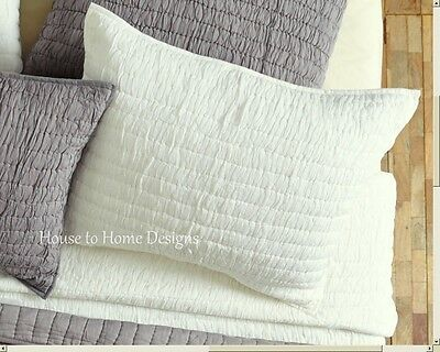 CHIC RUCHED EURO SHAM : 100% COTTON IVORY WHITE COTTAGE EUROPEAN PILLOW COVER