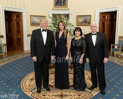 Donald J Trump  President And First Lady   Vp Mike Pence Color 8 X 10 Photograph