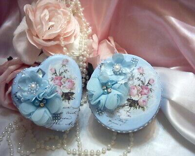Shabby Victorian Cottage~2 PC Metal Tin Set~BLUE~Rose Design~Gemstones~OOAK