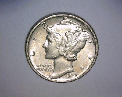 1939 D MERCURY DIME, VERY NICE HIGHER GRADE UN-CIRCULATED  US COIN