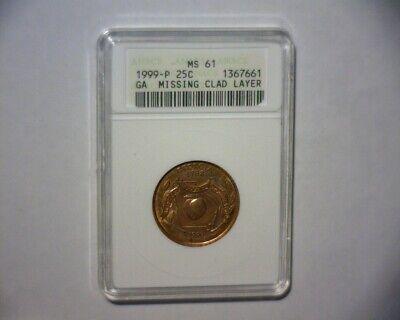 1999 P WASHINGTON QUARTER MISSING REVERSE CLAD, GA. STATE >RARE<  US ERROR COIN for sale  Clermont