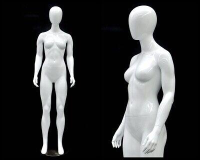 Female Fiberglass Glossy White Mannequin Egg Head Roxy Display Md-gpx01w1eg