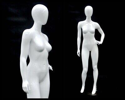Female Fiberglass Glossy White Mannequin Egg Head Roxy Display Md-gpx03w1eg