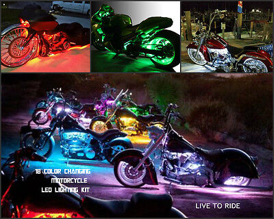 18 Color Changing Led Cross Country Motorcycle 12pc Led Neon Strip Light Kit