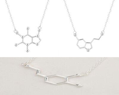 Molecule Charm Necklace Biochem Serotonin Dopamine Caffeine Biochem Pendant