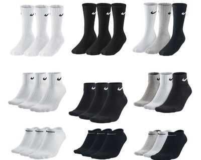 Nike 3 ppk Pair Mens Womens Cotton Crew Quarter Ankle Sports Socks Size UK 2-14