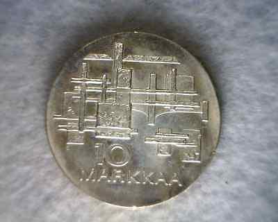 FINLAND 10 MARKKAA 1967 BU SILVER COIN (stock# 0229)
