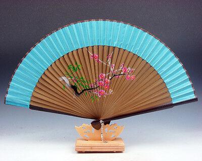 Hermoso Plum Blossoms Plegables Ventilador Mano Pared Decoración Con / Soporte #