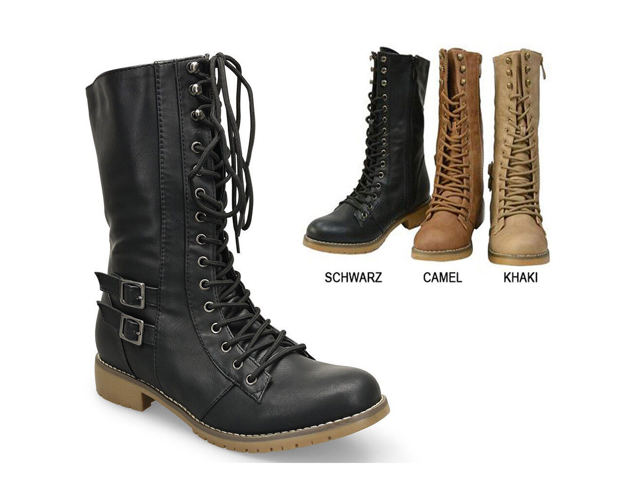 Damen Military Militär Stiefeletten Schnürstiefel Worker Boots Stiefel NEU