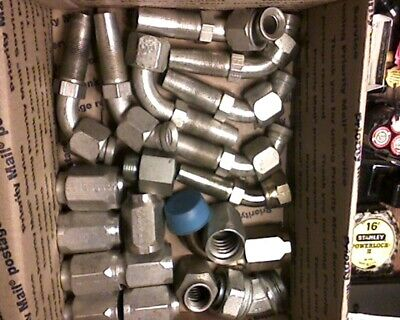 Lot Hydraulic Fittings Adapters Reducers Elbows Parker Used Unused 20 Pc