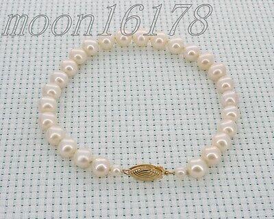 - 7mm white aaa akoya genuine pearl bracelet 6.5