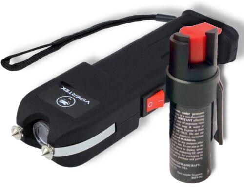 VIPERTEK Stun Gun VTS-989 - 600 BV Rechargeable W/ LED Flashlight + PEPPER SPRAY