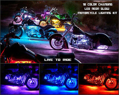 16pc 18 Color Changing Led Indian Springfield Motorcycle Led Lighting Kit
