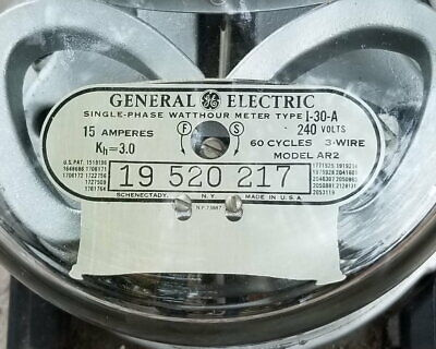 Vintage Ge Type I-30-a Model Ac-2 Watt Hour Meter Single Phase