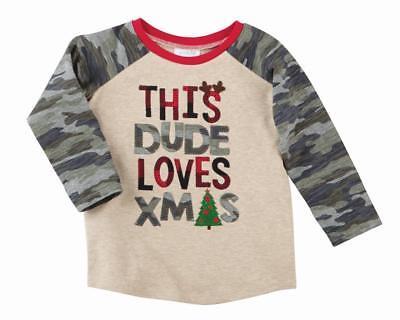 Mud Pie Camo Christmas Boys Tee Shirt