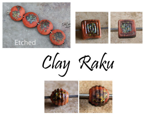 Clay Raku Lentils -  Handmade Glass Lampwork Coin Beads - elasia SRA MTO