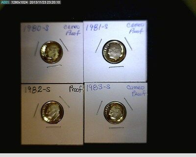 1980 TO 1989 ROOSEVELT DIME PROOF RUN