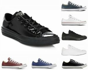 CONVERSE-All-STAR-OX-LEATHER-BLACK-MONO-WHITE-BLUE-ADMIRAL-TRAINERS-SIZE-UK-3-12