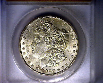 ANACS MS61 MOSTLY BLAST WHITE 1900 VAM 16 LDS HOT 50 MORGAN SILVER DOLLAR
