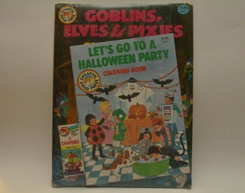 Vintage Halloween Coloring Books W/Crayons (Sealed)