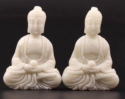 2 BUDDHIST CHINESE WHITE JADE STATUE PENDANT GUANYIN SITTING BUDDHA WORSHIP GIFT for sale  Shipping to Canada