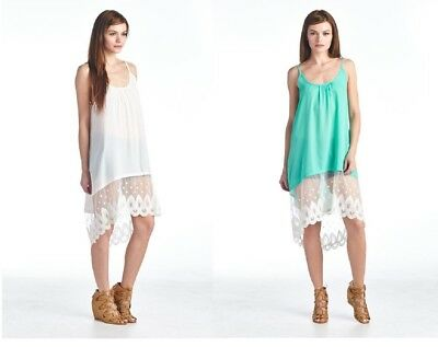 - USA Camisole Long Slip Dress Vintage Asymmetrical Big Flower Lace Extender