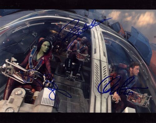 ZOE SALDANA CHRIS PRATT BAUTISTA SIGNED GUARDIANS OF THE GALAXY 11X14 PHOTO AUTO