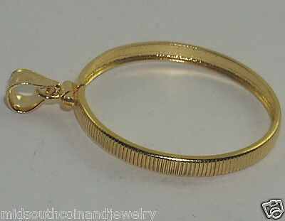 Coin Bezel Frame SACAGAWEA DOLLAR Reeded Edge 1/20th 14K Gold Soldered Bail -