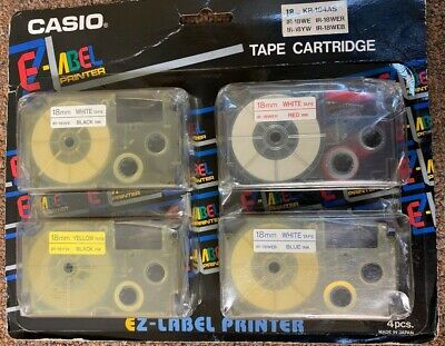 Casio Kr-184as Tape Cassettes 18mm Multi Color 4 Pack New .