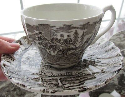MYOTT ROYAL MAIL ENGLAND BROWN TRANSFER CUP & SAUCER SET (12 AVAILABLE)