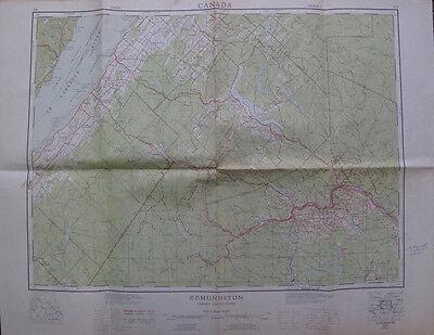 Color Map Edmundston New Brunswick Canada Fort Kent Maine Cabano St. Pascal 1960