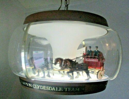 VINTAGE BUDWEISER BEER CLYDESDALE PARADE ROTATING CAROUSEL BAR LIGHT ...