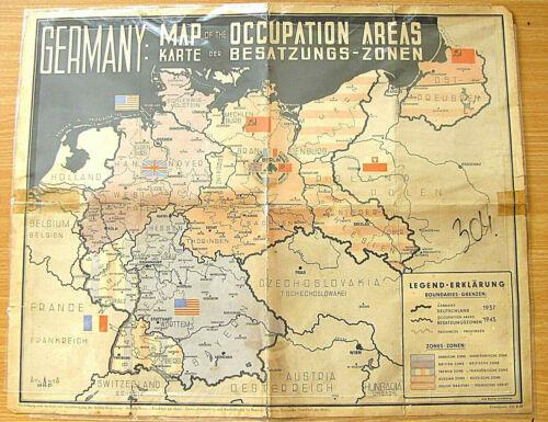 Gemany Map of the Occupation Areas. Karte der Besatzungs-Zonen Litho, 1945