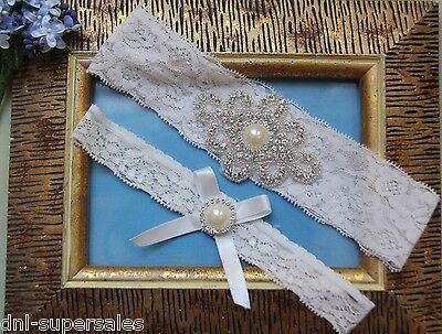Rhinestone Wedding Garter Set 2 Garters Pearl Bow White Lace Bridal Prom R1
