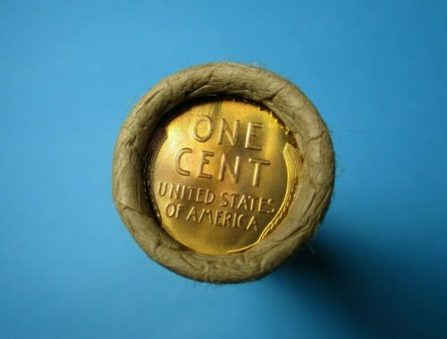 VERY OLD AND RARE LINCOLN WHEAT CENT PENNY ROLL WITH BRILLIANT UNCIRCULATED ENDS