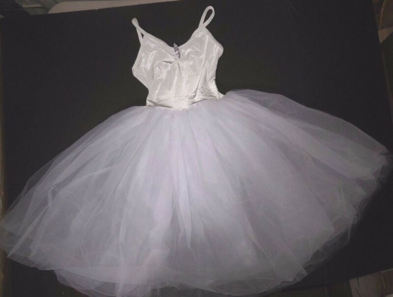 NWT White ROMANTIC BALLET COSTUME VELVET Tulle Organdy long  rhinestonepin Cami