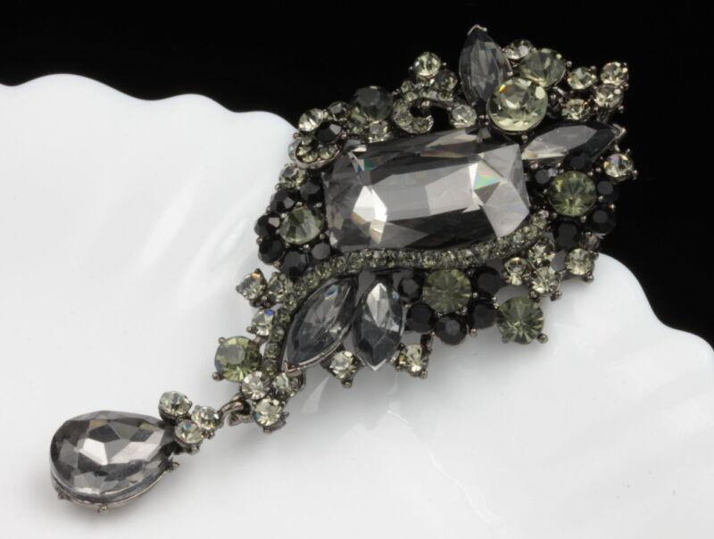 pendant black gray crystal Bouquet brooch pin Birthday gift Valentine dress H07
