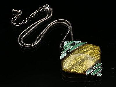 Sparkly enamel green leaves rhombus lucite gunmetal plated pendant necklace K01