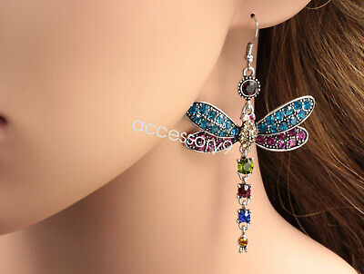 Gorgeous colors dragonfly crystal rhinestone silver plated hook earrings B40