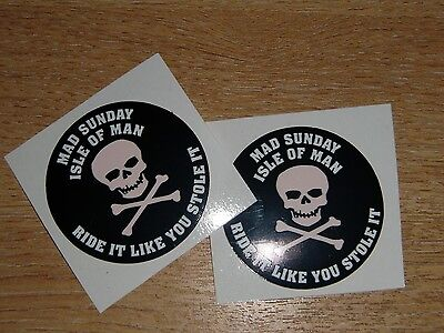 isle of man TT races - MAD SUNDAY stickers - 2x 50mm decals