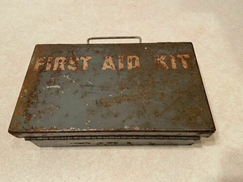 Vintage Metal Box First Aid Kit with Supplies Michigan Dept of State Highways