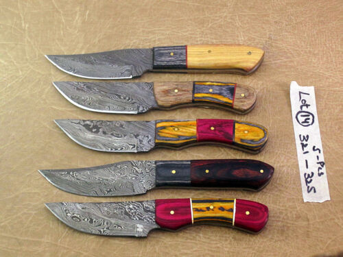 """5 pieces over 40"""" Damascus steel skinning knives lot with Leather Sheath, Lot 14"""