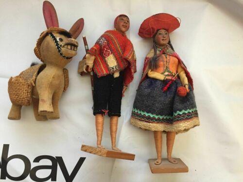 Peruvian Old Vintage Spanish dolls Made in Peru 9 Inch Doll Folk Art - imperfect