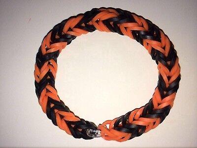 Orange and Black Halloween Loom Band Bracelets (Lot of 10)