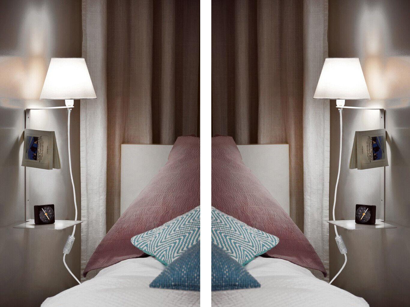 Details zu Wandlampe Schlafzimmer mit Ablage & Schalter Nachttisch Leuchte  Wand Regal Lampe