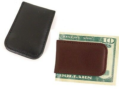 Mens Leather Covered Money Clip - Budd Leather Magnetic Calfskin Covered Men's Money Clip in Brown or Black