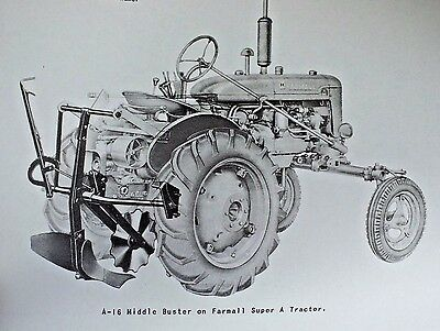 Ih International Farmall Super A-16 Middle Buster Plow Owners Manual 100 130 140